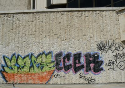 Graffitientfernung von Kalkstein
