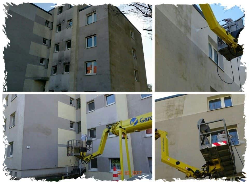 Fassadenreinigung Haus Grau
