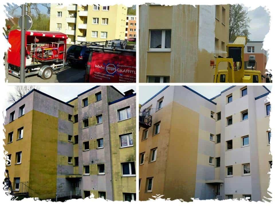 Fassadenreinigung mit Steiger